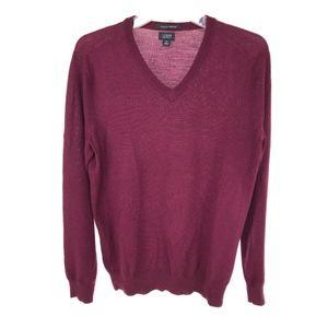 J Crew Mens V Neck Sweater Small 100% Merino Wool